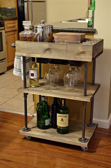 Kitchen Cart Pipe by Industrial Pipe And Wood Bar Cart Kitchen Cart By