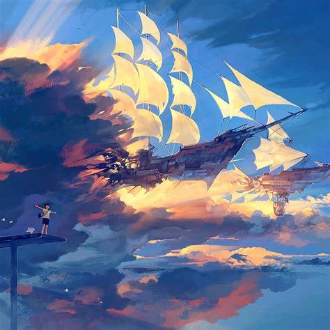 az fly ship anime illustration art blue wallpaper
