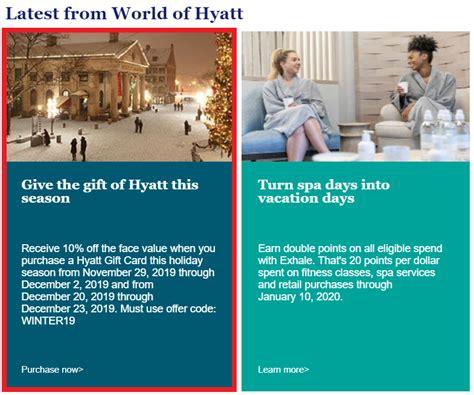 Should you take advantage of this promo? World Of Hyatt 10% Off Gift Cards November 29 - December 2 ...