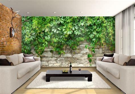 stone wall  plants custom wallpaper mural print  jw