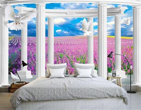 decor trompe l oeil d 233 cor trompe l oeil effet 3d paysage romantique dans le ch de lavande papier peint 3d