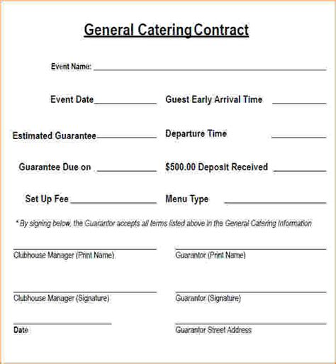 catering contract template 6 catering contract template free timeline template