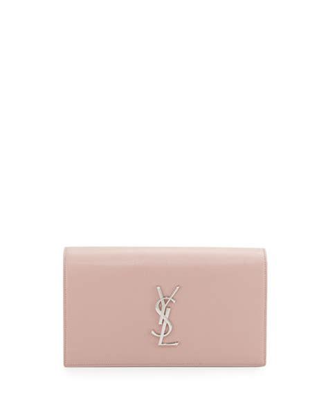 saint laurent monogram leather small clutch bag dusty rose neiman marcus