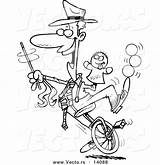 Unicycle Entertainer Toonaday sketch template