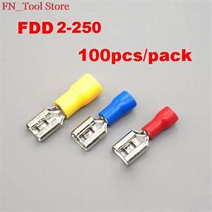 New Fdd2 250 100pcs  Pack Insulating Female Insulated Electrical Crimp Terminal Connectors Cable