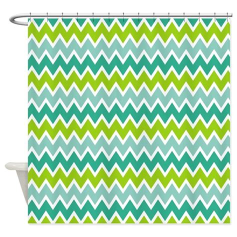 aqua and green chevron shower curtain by nature tees