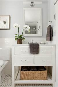 restoration hardware washstand transitional bathroom With best brand of paint for kitchen cabinets with woven glass wall art