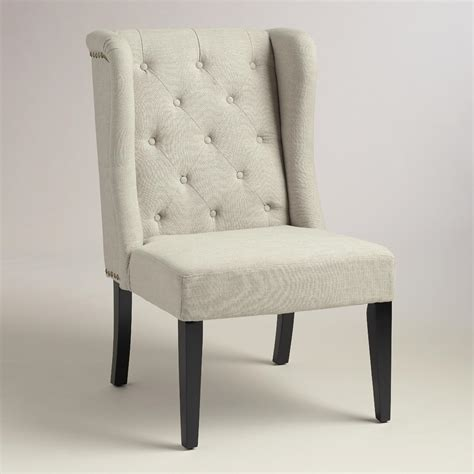 Kyrra Tufted Linen Wingback Dining Chair by Linen Tufted Wingback Chair World Market