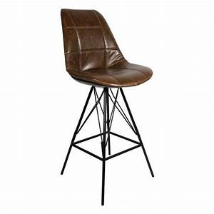 Chaise Industrielle Cuir : chaise haute de bar industrielle assise dossier aspect cuir gaufre marron cbr 524 one mobilier ~ Teatrodelosmanantiales.com Idées de Décoration