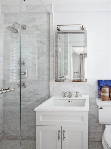 traditional  white bathroom  marble tile hgtv