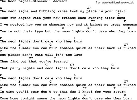 Lights Song by Country The Neon Lights Stonewall Jackson Lyrics And