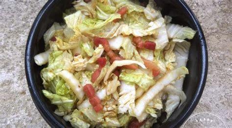 chinois pour la cuisine salade de chou chinois aux lardons caramélisés la