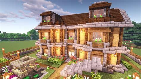 Large Minecraft Oak House Drone Fest