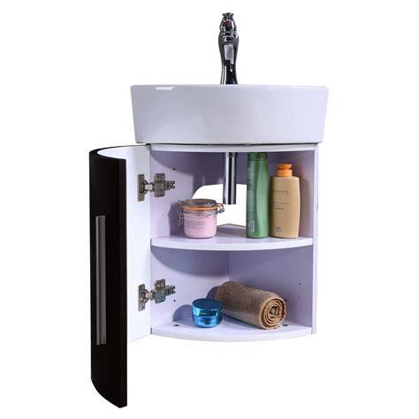 bathroom black wall mount corner cabinet vanity white sink
