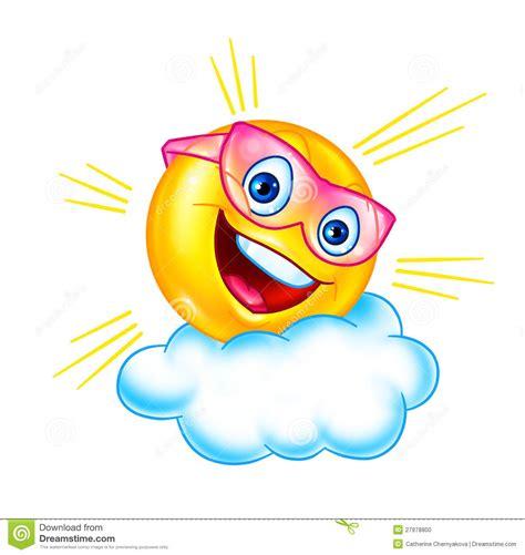 funny sun  cloud cartoon stock illustration image