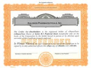 1 Preferred Stock Certificate