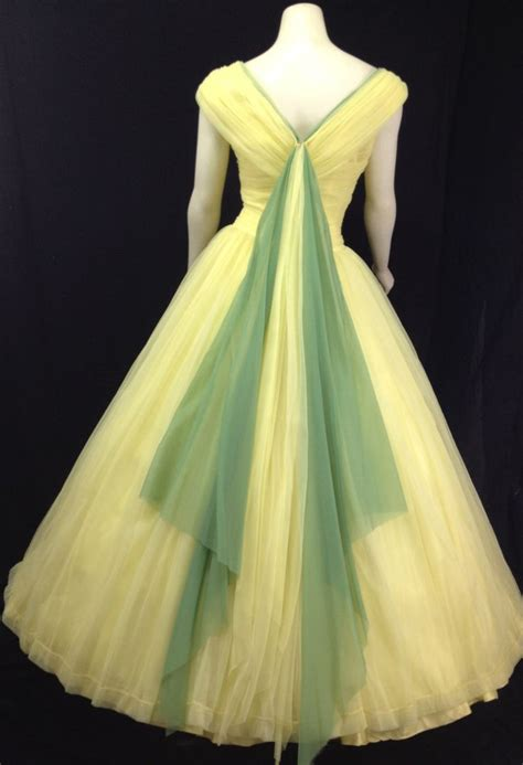vintage  ball gown yellow prom dress formal tulle