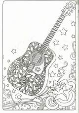 Coloring Guitar Pages Adult Printable Sheets Mandala Books Hippie sketch template