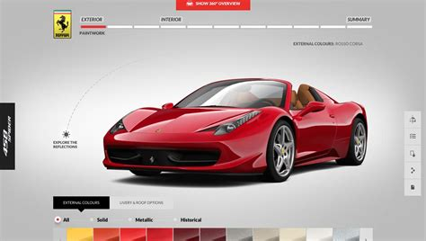 Ferrari 458 Spider Online Configurator Lets You Build A