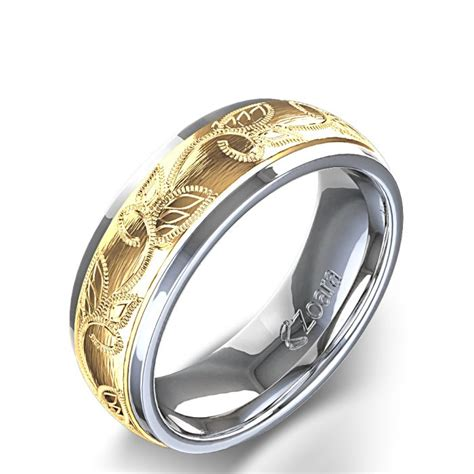 unique design leaf design carved s wedding ring in 14k two shades white gold best wedding
