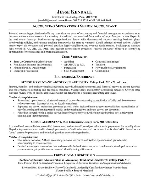 Model Resume For Accountant by Accounting Resume Sles Senior Level Experience Resumes Skills Senior Accountant Resume