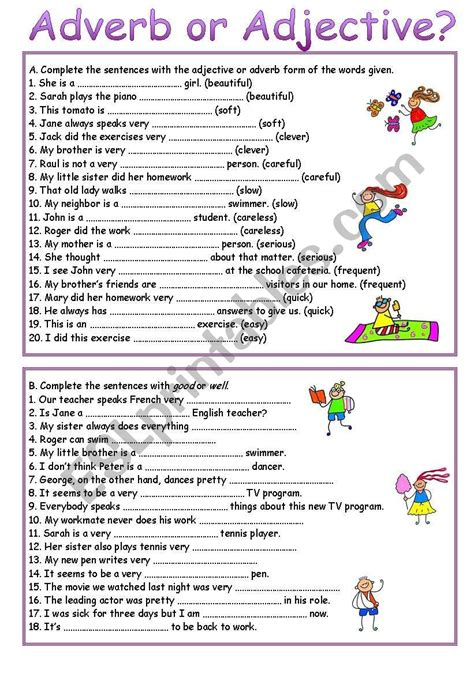 adverb or adjective esl worksheet by luoliveira