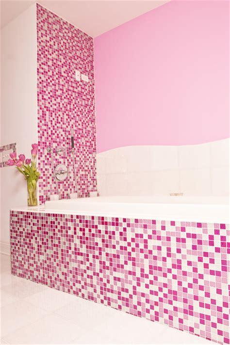 sparkly pink mosaic bath interiors  color