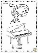 Coloring Alphabet Anastasiya Studio Musical Worksheets Horn sketch template