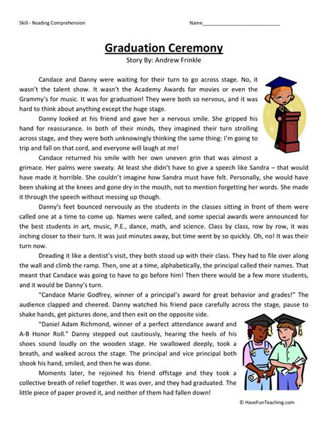 reading comprehension worksheet graduation ceremony