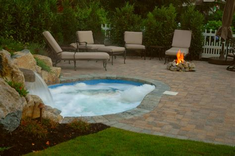 inground spa custom in ground vinyl spa traditional pool new york by long island hot tub quot hot tub and