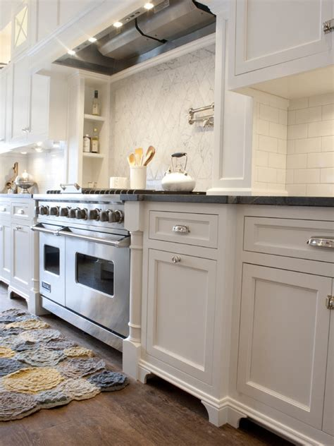 Yellow Galley Kitchen White Cabinets