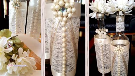 pearls ribbon lace wine bottles youtube