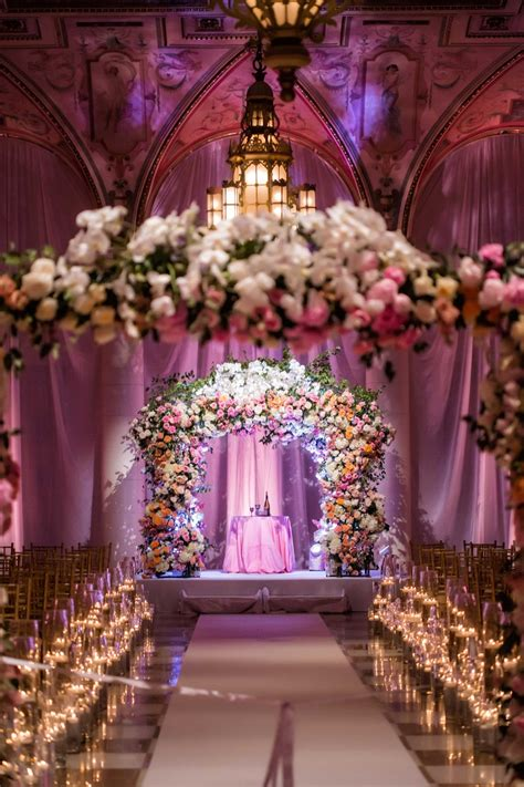 Ceremony Décor Photos Flower Arches at Ballroom Ceremony