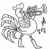 Coloring Trumpet Rooster Playing Pages Template Sheet Ice Trombone Violin sketch template