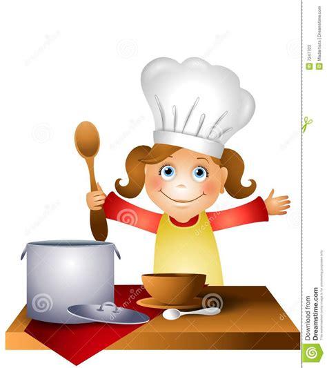 cuisine de a z chef enfant de fille dans le chapeau 2 de chef illustration