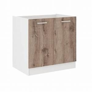 Meuble Sous Evier 90 Cm : ultra meuble bas sous vier l 80 cm d cor ch ne fonc ~ Dailycaller-alerts.com Idées de Décoration