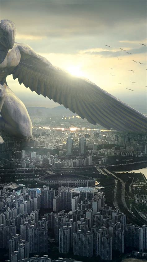 wallpaper giant angel city  art