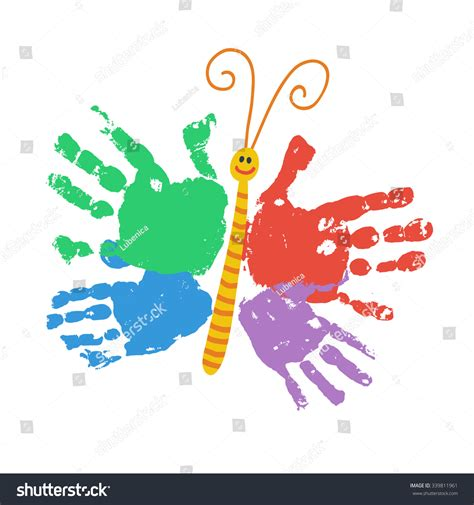 handprint butterfly smiling colorful kids palm stock