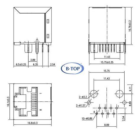 vertical top entry rj jack  transformer vertical