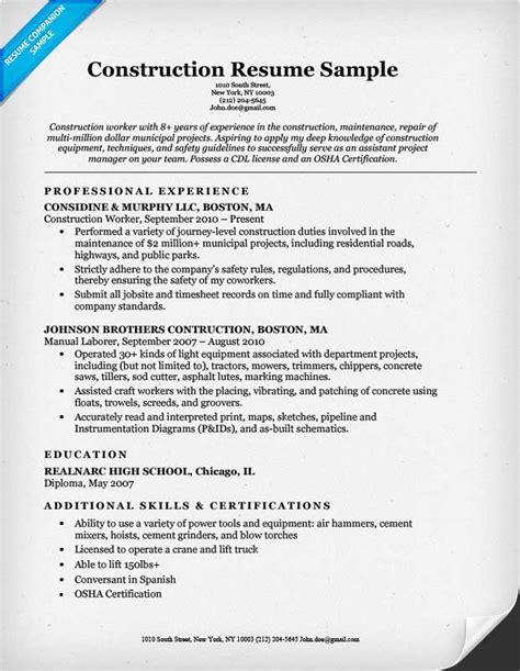 Construction Resume by Construction Labor Resume Sle Resume Companion