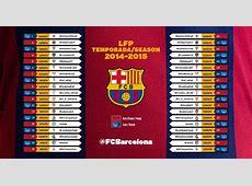 Liga le calendrier 201415 du Barça FC Barcelona Clan