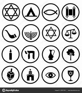 Jüdische religiöse Symbole, Symbole, schwarz und weiß ...