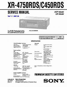 Sony Xr-4750rds  Xr-c450rds Service Manual
