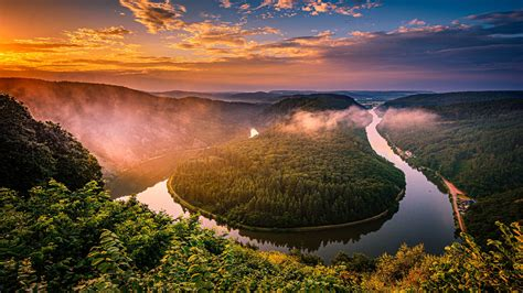 Aerial View Of Germany Forest And River During Sunset HD ...