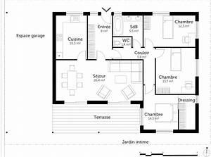 plan maison plain pied avec 3 chambres ooreka With plan maison plain pied 3 chambres terrasse
