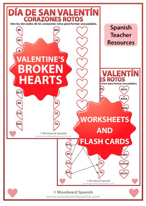 valentine s day broken hearts worksheet and flash cards in