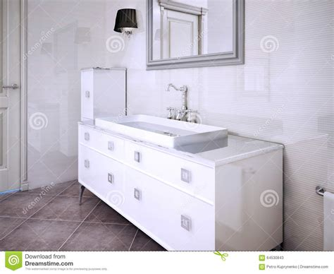 Sink Console In Art Deco Styled Bathroom Stock Image