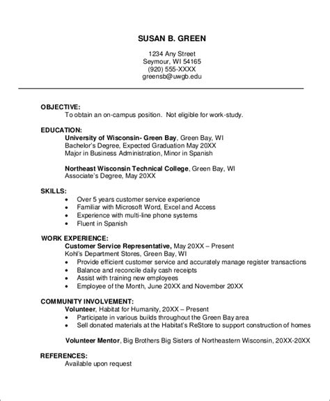 sle resume 8 exles in word pdf