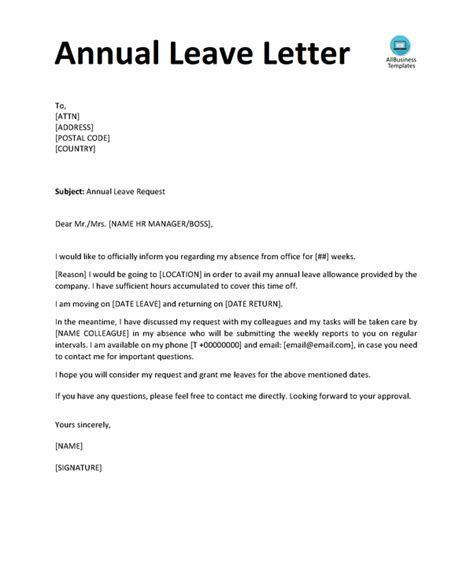 write  request letter  annual leave quora