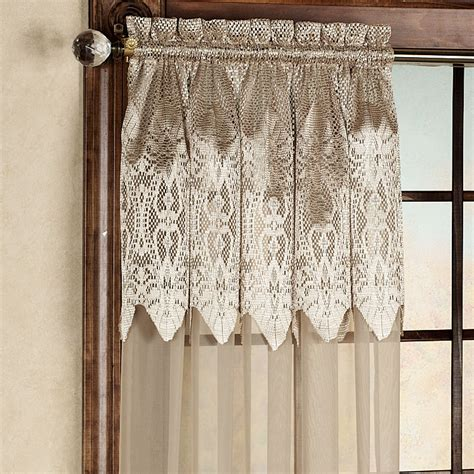 White Lace Curtains Attached Valance Curtain Menzilperdenet